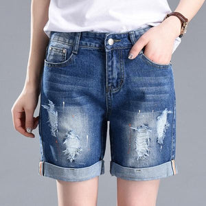 Plus Size 2018 Summer Shorts For Women Loose Cuffs Straight Short Jeans Lady Denim Pants Stretch Women Trousers Calca Feminina-rodewe