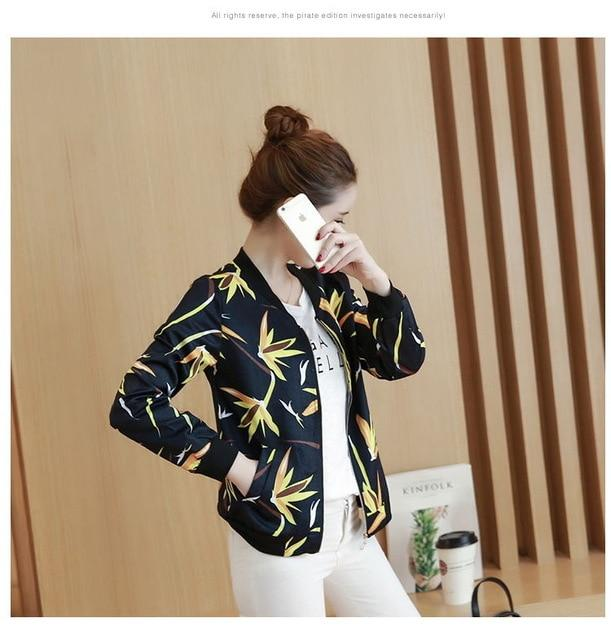 MONBEEPH 2018 New Female Basic Jackets Spring Jacket Floral Bomber Jacket Women Casual Outwear Female Jacket Coat plus size 3XL-rodewe