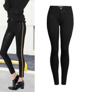 LOGAMI High Waist Skinny Jeans Woman Patchwork Women Jeans Pants Pencil Jeans Femme Black-rodewe