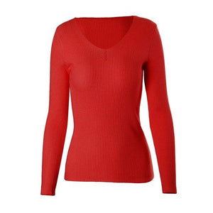 Wixra Warm and Charm Winter Autumn 2017 New Fashion Women Sweater Tight Elasticity Knitted V Neck Long Sleeve Thin Sweater Top-rodewe