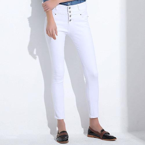Women's Jeans 2018 korean femme femininas white denim high waist Pencil skinny pants Jeans Woman Clothing For Women Female-rodewe