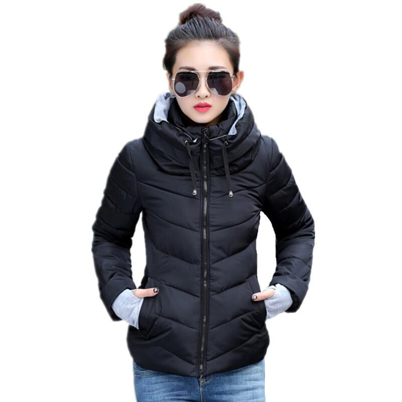 2018 Winter Jacket women Plus Size Womens Parkas Thicken Outerwear solid hooded Coats Short Female Slim Cotton padded basic tops-rodewe