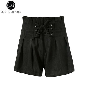 Lily Rosie Girl Lace Up Elastic High Waist Casual Black Shorts Women 2018 Autumn Winter Khaki Shorts Lady Loose Short Pants-rodewe