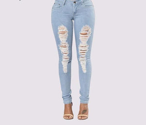 Women Jeans Light Blue Hole Ripped Stretch Mid Waist Skinny Jeans Thin Plus Size Spring Summer Denim High Elastic Female Pants-rodewe