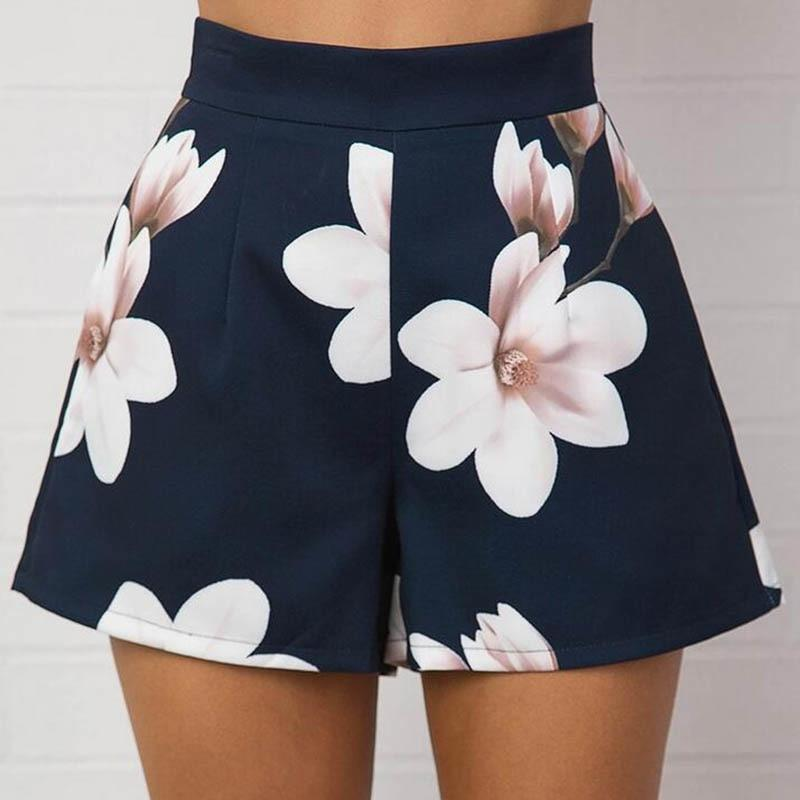 Fashion Summer Women Sexy Shorts High Waist Zipped Flowers Printing Ladies Girls Casual Wide Leg Short Trouser -MX8-rodewe