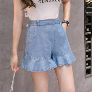 2018 Summer New Arrival Plus Size 5XL Women's Jeans Shorts Fashion High Waist Pockets Elastic Waist Loose hot Trousers B85107X-rodewe