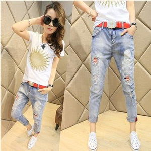 Spring 2018 couture fashion jeans female skull slim feet Haren pants pants nine-rodewe