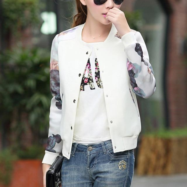 Flower Print 2018 Women Jacket Tops Girl Plus Size Casual baseball Women Clothing Button Thin Bomber Long Sleeves Coat Jackets-rodewe