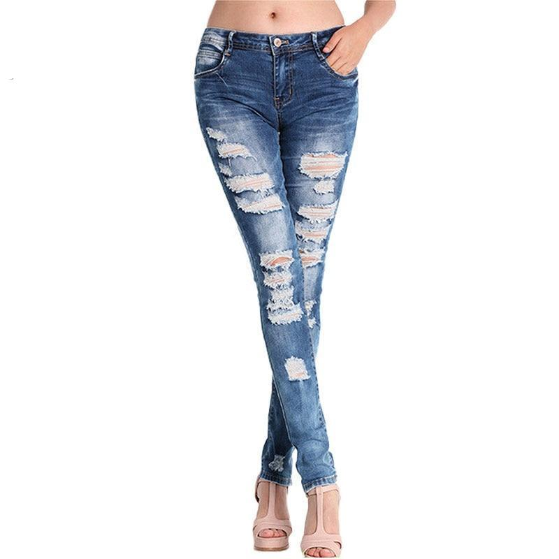 Hole Ripped Jeans For Women High Waist Slim Skiiny Boyfriend Girl Cool Denim Pencil Pants Sexy Trouser Button Casual Blue **-rodewe