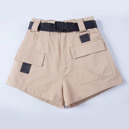 Casual American Street Style Women Solid Loose Cargo Shorts WIth Black Waist Sashes-rodewe
