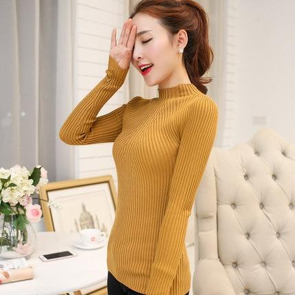OHCLOTHING New 2018 Cashmere Sweater Women Spring Cashmere Pullovers Long Sleeve half turtleneck sweater Slim Knitwear Jumper-rodewe