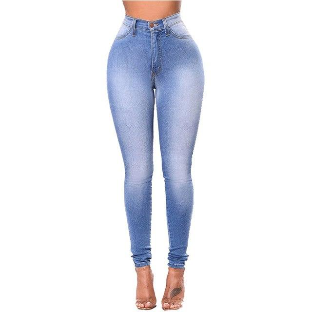 2018 Solid color large size high elastic trousers European and American women's high waist tight casual jeans washed feet jeans-rodewe