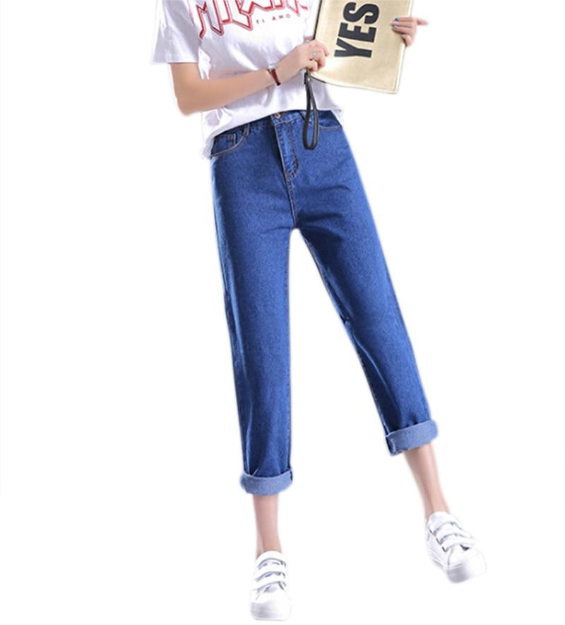 Plus Size Vintage Blue Boyfriend Jeans For Women High Waist Denim Jeans Female Casual Loose Jeans Spring Autumn Denim Pants 2018-rodewe
