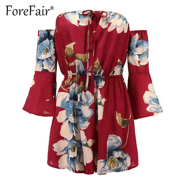 ForeFair Casual Summer Playsuit Floral Print Chiffon Romper Women Jumpsuits Flare Sleeve Off Shoulder Slash Neck Sexy Playsuit-rodewe