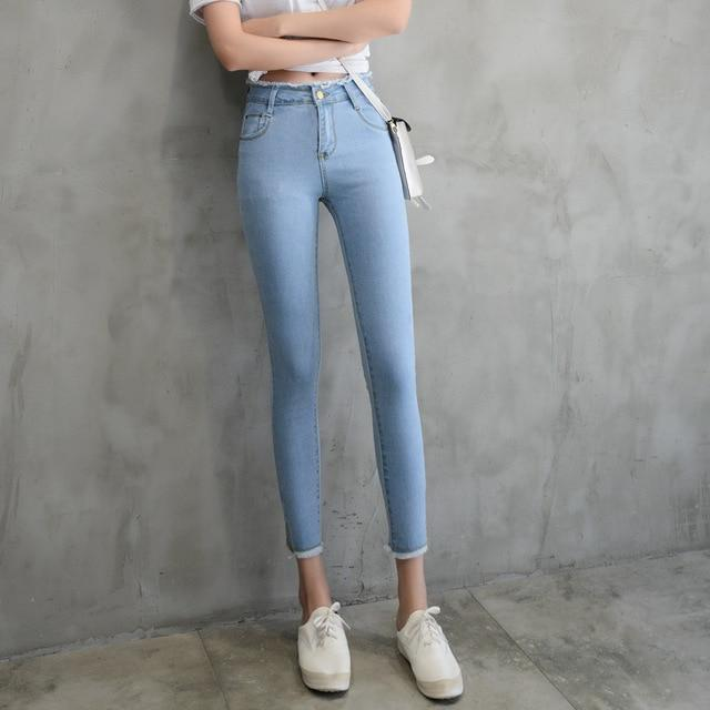 2018 Summer Women Ankle-Length Black Jeans Students High Waist Stretch Skinny Female Tassel Pencil Pants Denim Ladies Trousers-rodewe