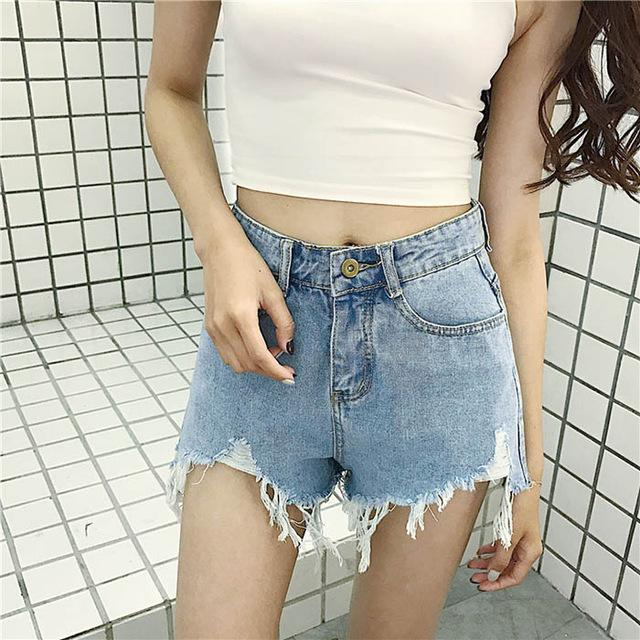 ENWAYEL Hot 2018 Summer Tassel Hole Denim Shorts For Women Casual Button Pockets Girl Jeans Shorts Femme Ripped Sexy Short Jean-rodewe