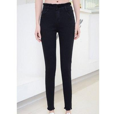 Spring new high waist skinny jeans female ankle-length Small feet pants Solid Color Fringed Spandex Pencil Pants J2001-rodewe