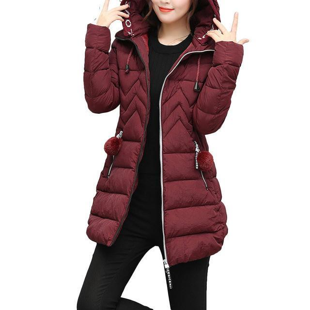 Free Ostrich Jackets Women Casual Solid Hooded Zipper Pocket Warm Thick Winter Jacket Long Coat Jaqueta Feminina L0530-rodewe