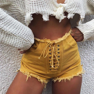 InstaHot Front Lace Up Sexy Short Jeans Women Ripped Denim Stretch Shorts 2018 Summer High Waist Frayed Shorts Tassel Beach Jean-rodewe