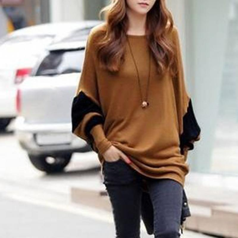 Women Autumn Winter Fashion Casual Smooth Long Sleeve Round Neck Solid Chocolate Color Polyester Loose Stitching Pullover Tops-rodewe