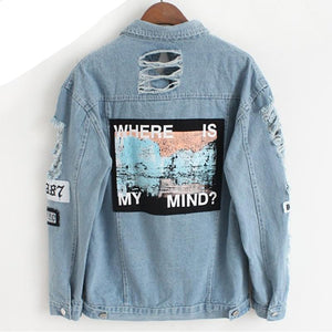 Women Frayed Denim Bomber Jacket Appliques Print Where Is My Mind Lady Vintage Elegant Outwear Autumn Fashion Coat Vangull 2018-rodewe