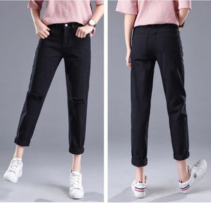 2018 Spring Autumn Hole Jeans Women Classic High Waist Harem Pants Women New Fashion Slim Solid Color Ankle-length Casual Pants-rodewe