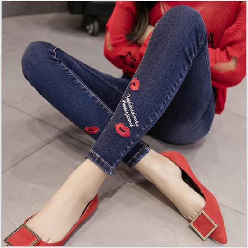 9 Color Fashion Jeans For Women Lips Flowers Embroidery Holes Styles Trousers Elasticity Jeans Slim Was Thin Cuffs Pencil Pants-rodewe