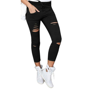 2018 Women Jeans Autumn Winter Pencil Trouser Plus Size Women Skinny Ripped Pants High Waist Stretch Slim Pencil Trousers-rodewe