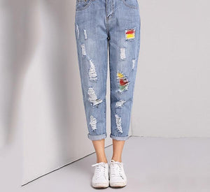 flower embroidered jeans woman plus size loose vintage blue harem pants Ankle-Length Ripped denim Trousers 4XL 5XL-rodewe