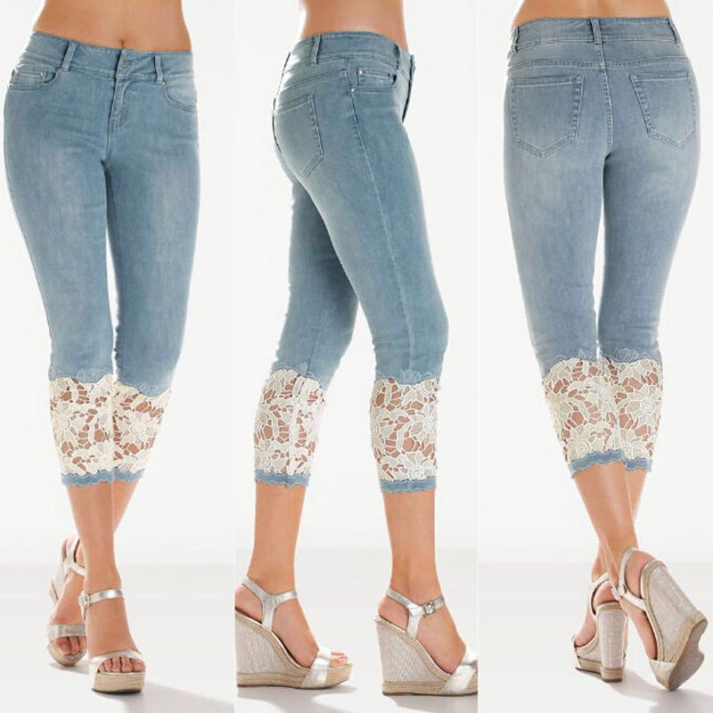 New Fashion lady casual Cropped Jeans Cute blue girls Cotton Denim High waist Pockets Slim Knee length Capri Pants Lace legs-rodewe
