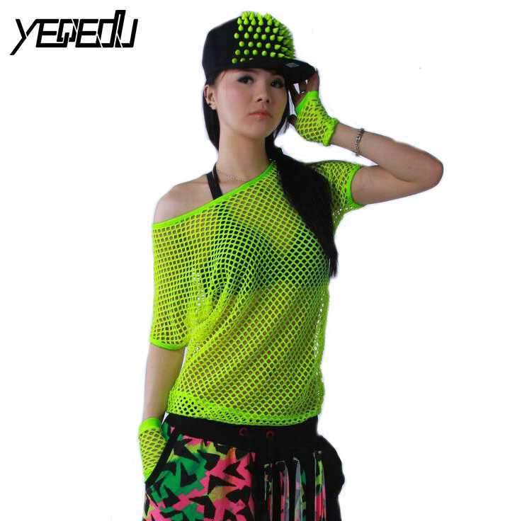 #4202 2018 Summer Neon t shirts Hip hop Women Mesh top Outwear Stage dancewear women Neon clothes Sexy Fashion Punk Harajuku-rodewe