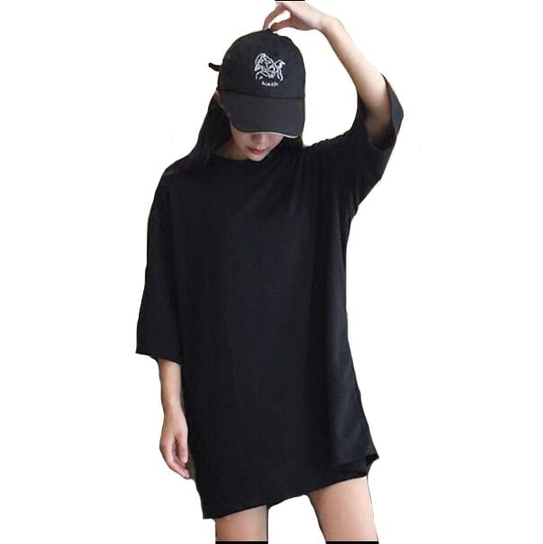 #4205 2018 Korean Style Half Sleeve T shirt Long Large Size Black Tee shirt women Oversize Loose Harajuku O-neck Streetwear Tide-rodewe