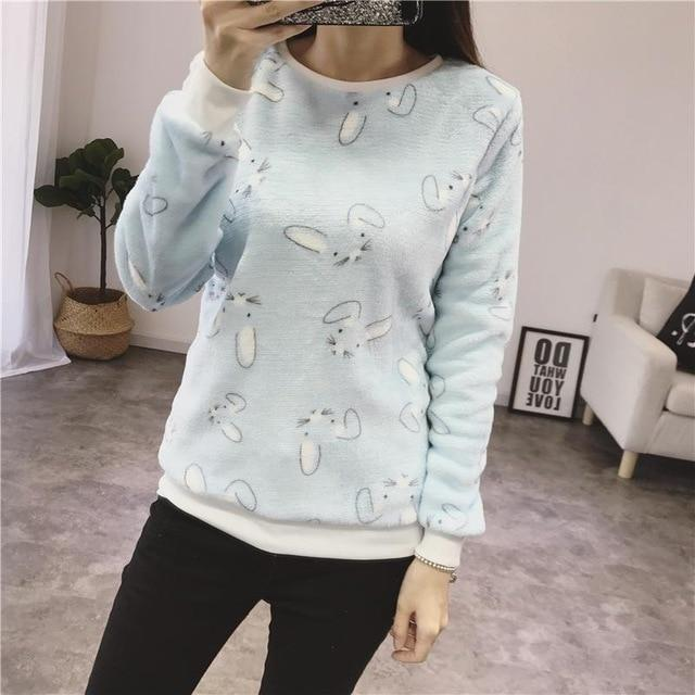 Fashion Winter Sweater Women Top 2018 Casual Cotton Long Sleeve Ladies Cartoon Print Sweater Plus Size 2XL Outwears Jacket-rodewe
