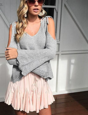 Lily Rosie Girl Casual Sexy Cut out Cold Shoulder Sweaters Women V-neck Flare Sleeve Knitted Femme Pullover Lace Up Jumpers 2018-rodewe