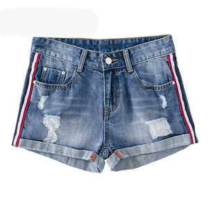 LORDXX Denim Shorts Women 2018 Summer Casual Basic Blue Shorts Ripped Jeans shorts Side Strip Shorts for women-rodewe