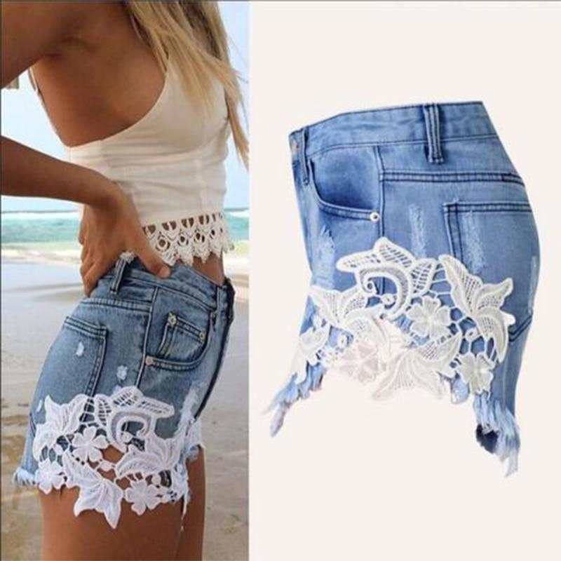2018 summer lace hollow out sexy cowboy shorts female hot shorts Grunge style casual denim shorts white lace short pants woman-rodewe