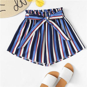 COLROVIE Frill Trim Striped Striped Summer Shorts 2018 New Multicolor Casual Women Shorts Wide Leg Knot Mid Waist Bottom-rodewe