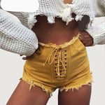 Yojoceli 2018 summer bodycon ripped denim shorts women lace up party club streetwear female shorts bottom-rodewe