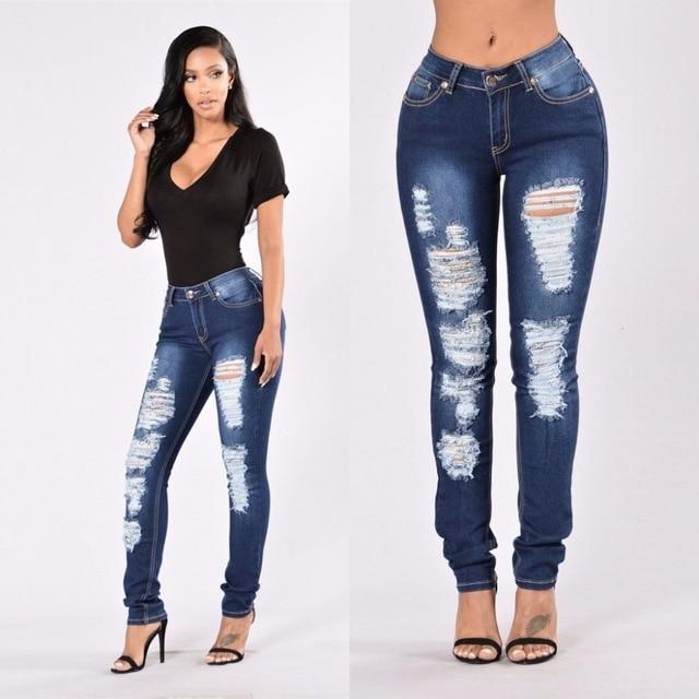 2018 new jeans woman ripped dark blue trousers Mid waist hole pencil jeans Cotton stretch bodycon sexy skinny denim pants women-rodewe