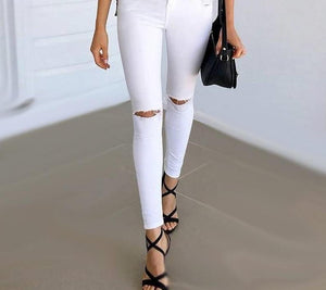 Simplee Summer style white hole ripped jeans Women jeggings cool denim high waist pants capris Female skinny black casual jeans-rodewe