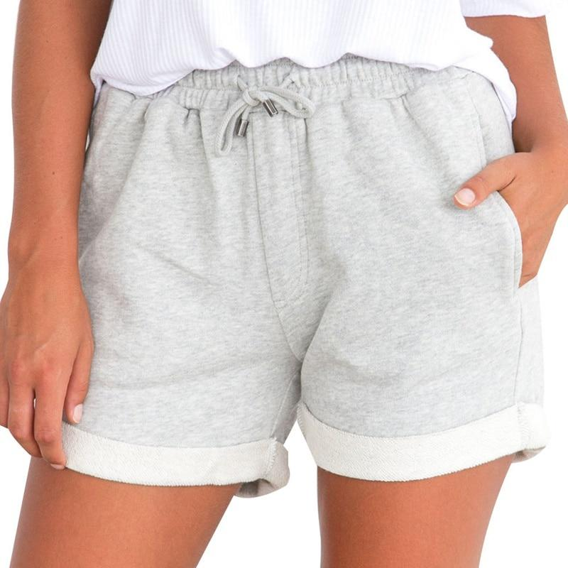 Summer Gray Black Shorts High Waist Drawstring Shorts Women Elastic Waist Curling Shorts With Pocket Casual Knitted Sweat Shorts-rodewe