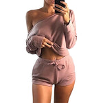 Summer 2018 Sexy Women Two Pieces Slash Neck Hoodies Tops Cotton Drawstring Shorts Lady Spring Casual Suit Plus Size Mujer GV366-rodewe
