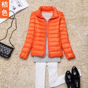 2017 fashion women keep warm Super light thin 90% White duck down jacket/femininity Stand collar Large size down coat-rodewe