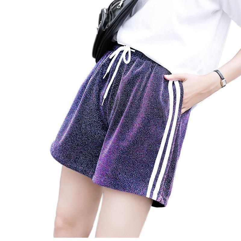 ZADORIN 2018 New Shining Hotpants Side Striped High Waist Casual Summer Shorts Women Purple Loose Lace Up Beach Boho Shorts-rodewe