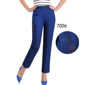 Thin jeans women summer denim breeches embroidery jeans plus size 5XL high waist elasticity casual pants feminine jean calf H450-rodewe