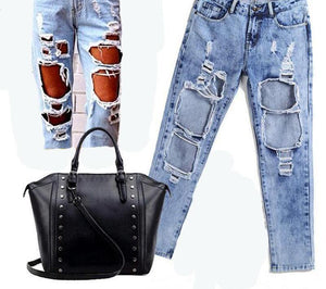 CWLSP Summer Autumn Ripped Jeans Female Casual Vintage Holes Boyfriend Jeans for Women Torn Jeans Wild Denim Pants QL1783-rodewe