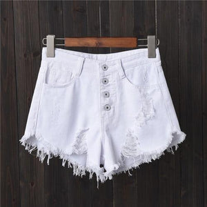Jeans Shorts Women 2018 Summer High Waist Holes Ripped Vintage Casual Woman Tassels Short Femme Pantalon Ladies Hot Denim Shorts-rodewe