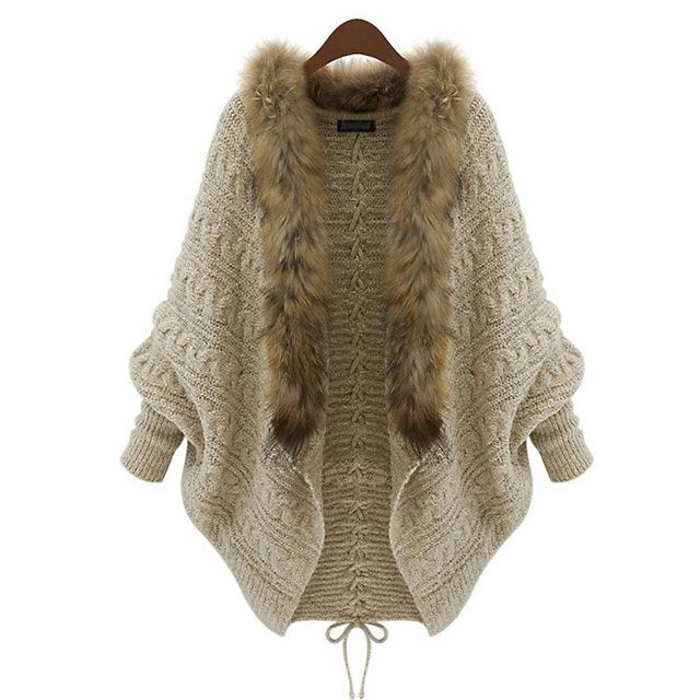 Kinikiss Autumn Women Sweater Cardigan Fashion Batwing Sleeve Wool Fur Tops Lace-Up Casual Loose Elegant Long Sleeve Knitted-rodewe