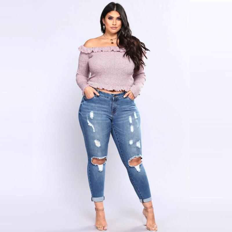 PLUS fashion Jeans Women High Waist Skinny Pencil Blue Denim Pants women ripped hole washed Jeans women 4XL 5XL 6XL 7XL big hip-rodewe