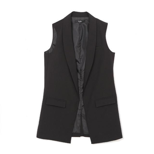 Women vest Fashion Wardrobe waistcoat Slim cotton vest 2018 Decoration Vests Female Sleeveless Waistcoat office lady pocket coat-rodewe